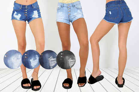 Be Jealous - Pair of four button ripped denim shorts - Save 64%