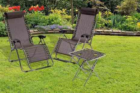 ViVo Technologies - Black three piece Zero Gravity reclining sun lounger and table set - Save 61%