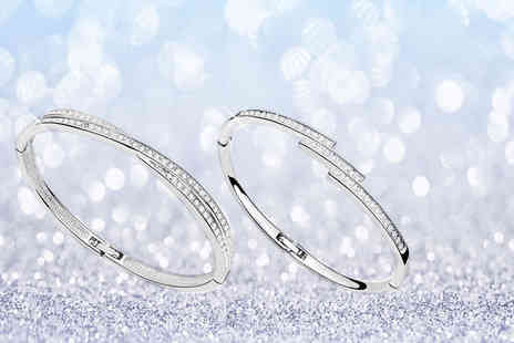 Fakurma - Pair of white gold plated bangles - Save 89%