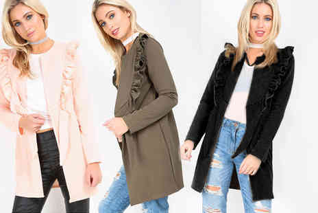 Be Jealous - Ruffle collar front tie duster jacket choose from five stylish colours - Save 56%