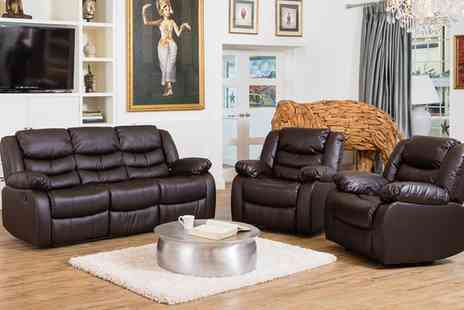 Groupon Goods Global GmbH - Fernandez Bonded Leather Reclining Sofa Sets With Free Delivery - Save 46%