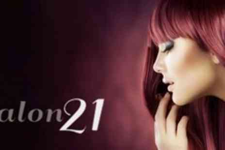 Salon 21 - Half Head Highlights or Full Head Colour With Restyle, Cut and Conditioning Treatment - Save 68%