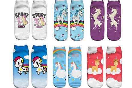 Black Sheep - 6 Pairs of Assorted Unicorn Socks - Save 70%