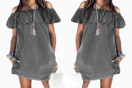 Shop Chainz - Aaliyah boho dark denim look mini dress - Save 85%