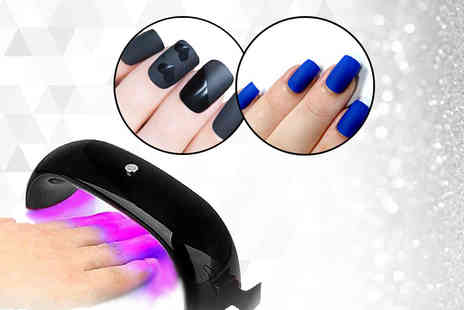 Boni Caro - Matt and gloss gel nail pack and UV lamp choose from two colours - Save 81%