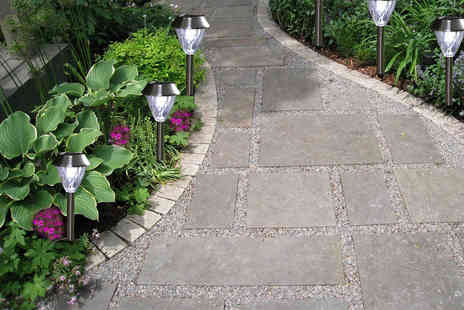 Groundlevel - Six chrome diamond shaped solar stake lights - Save 80%