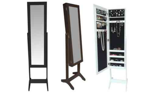 Groupon Goods Global GmbH - White Label Free Standing Jewellery Cabinet with Mirror With Free Delivery - Save 0%