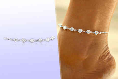 Girly Glitz - Round crystal anklet - Save 85%