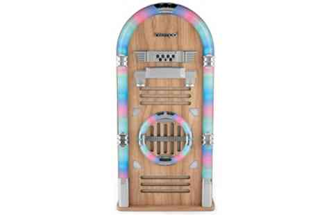 Groupon Goods Global GmbH - Intempo Oak Bluetooth Jukebox with Led Flashing Lights With Free Delivery - Save 50%