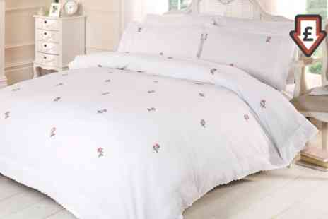 Groupon Goods Global GmbH - Rapport Home Alicia Embroidered Duvet Cover Set in Choice of Colour - Save 60%