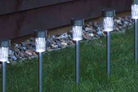 Groupon Goods Global GmbH - 10, 20 or 30 White or Coloured Stainless Steel Solar Led Garden Lights - Save 55%