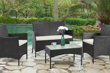 Groupon Goods Global GmbH - Four Piece PE Rattan Garden Furniture Set With Optional Covers With Free Delivery - Save 74%