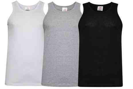Groupon Goods Global GmbH - Three or Six Mens 100% Cotton Vests - Save 0%