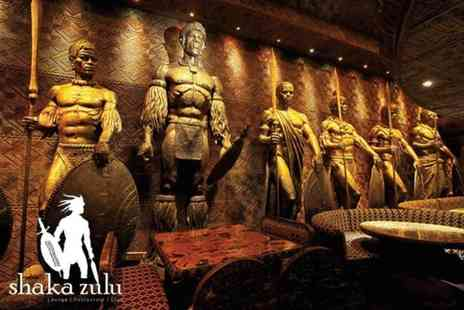 Buyagift - Three course meal and Champagne cocktails for two at celebrity hangout Shaka Zulu, Camden Town - Save 20%