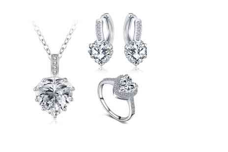 Fakurma - Cubic zirconia heart tri set - Save 94%