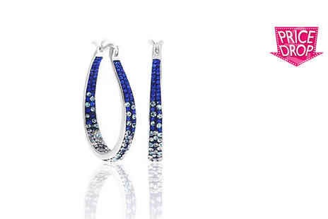 Evoked Design - Pair of inside out crystal hoop earring - Save 94%
