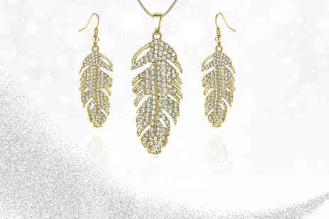 Your Ideal Gift - Feather drop earrings and pendant set made with crystals - Save 84%