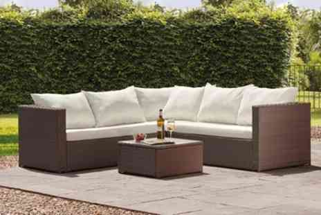 Groupon Goods Global GmbH - Miami Rattan Effect Corner Sofa Set in Choice of Colour With Free Delivery - Save 44%