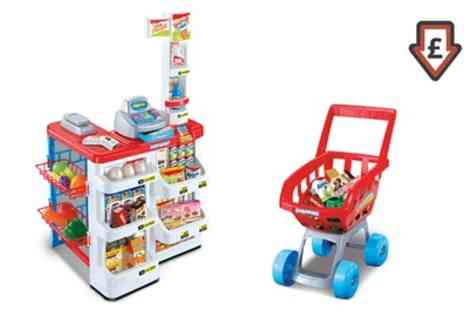 Groupon Goods Global GmbH - Childrens Supermarket and Shopping Trolley Toy Set - Save 46%