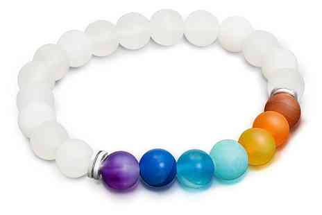 Groupon Goods Global GmbH - The Gem Seller Chakra Agate Bead Stretchable Bracelet with Genuine Gemstones - Save 85%