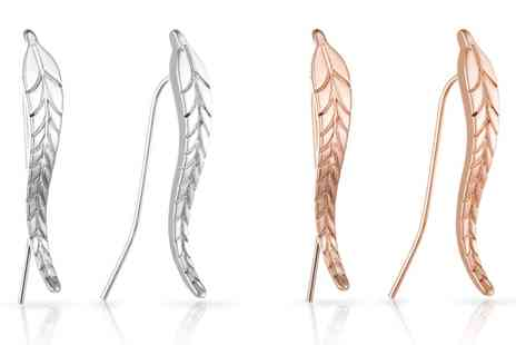Groupon Goods Global GmbH - One or Two Pairs of Philip Jones Leaf Climber Earrings - Save 80%