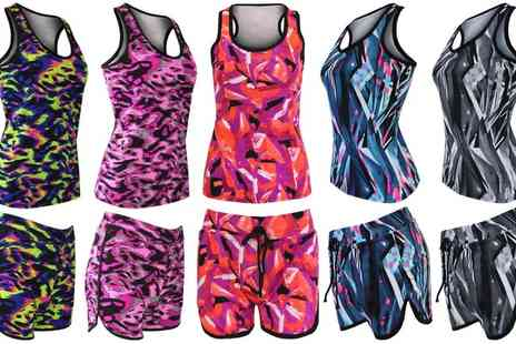 Groupon Goods Global GmbH - Womens Printed Shorts and Vest Set - Save 0%