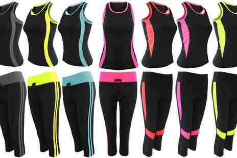 Groupon Goods Global GmbH - Womens Top and Leggings Contrasting Activewear Set - Save 0%