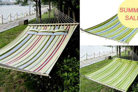 Mhstar - 2.1x1.4m Double Cotton Hammock With Pillow - Save 58%
