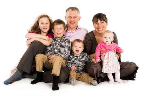 Memories Portrait Photographers - Family photoshoot for up to 12 people with 10 prints, two keyrings and a £100 digital file package voucher - Save 0%