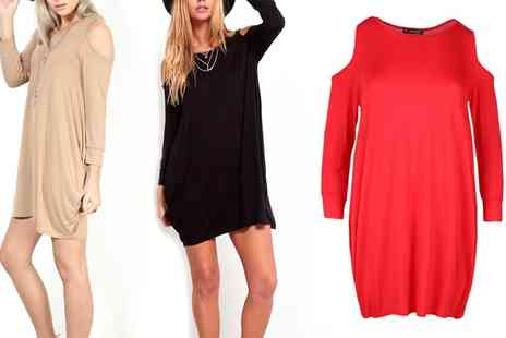 Groupon Goods Global GmbH - Cold Cut Shoulder Swing Dress  - Save 0%