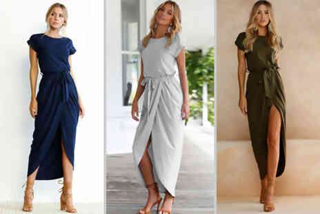 Jewleo - Womens belted maxi cocktail dress choose green, grey or navy - Save 83%