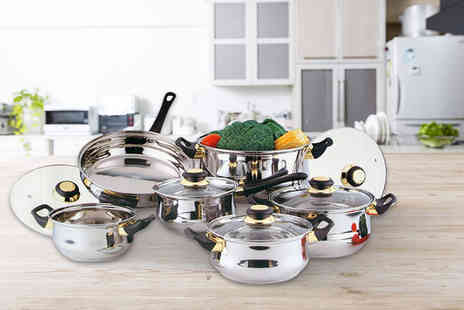 Direct 2 Publik - 12 piece stainless steel saucepan set - Save 79%