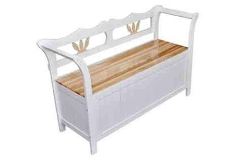 Groupon Goods Global GmbH - White Wooden Storage Bench With Free Delivery - Save 41%