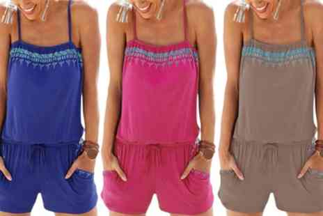 Groupon Goods Global GmbH - One or Two Printed Trim Summer Playsuits in Choice of Colours - Save 0%