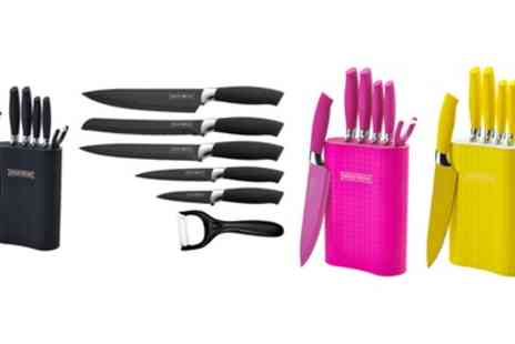 Groupon Goods Global GmbH - Six Piece Royalty Line Switzerland Non Stick Knife Set with Stand - Save 85%