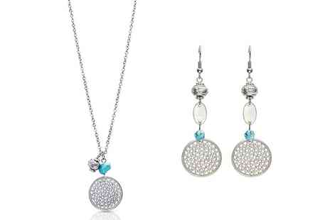 Groupon Goods Global GmbH - Turquoise Accented Drop Earrings, Pendant Necklace or Set - Save 80%