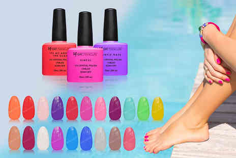 14 Day Manicure - Set of three gel nail polishes in the colours of your choice - Save 67%