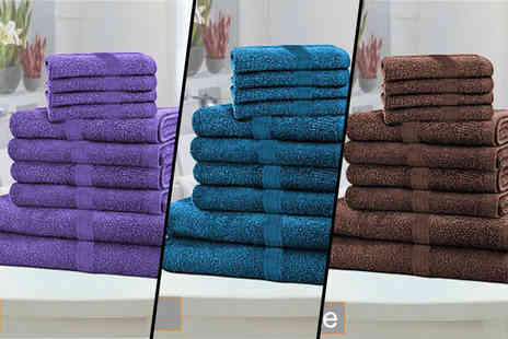 Groundlevel - 10 piece Egyptian cotton towel bundle select from 10 colours - Save 85%