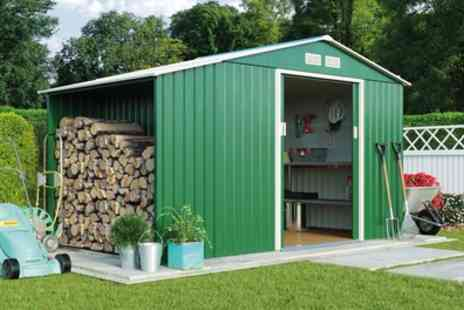Groupon Goods Global GmbH - Metal Shed and Log Store with Optional Foundation Kit With Free Delivery - Save 50%