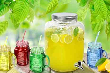 Groupon Goods Global GmbH - Eight Liter Jumbo Jar with Four or Eight Glass Mason Jars - Save 47%