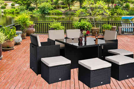 Mhstar - Outsunny 9 Piece Rattan Cube Dining Set - Save 67%