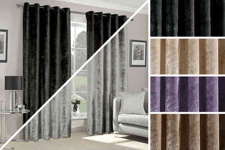 "Groundlevel - Set of 66x54'', 66''x72"", 66''x90"" or 90''x90"" heavyweight crushed velvet ring top curtains - Save 59%"