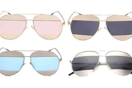 Groupon Goods Global GmbH - One or Two Pairs of Split Mirrored Aviator Sunglasses - Save 85%