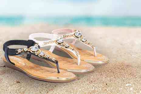 City Shoes Retail - Pair of embellished jewel t bar sandals - Save 25%