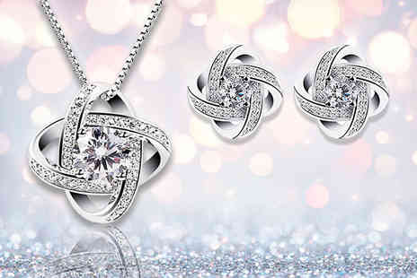 Your Ideal Gift - Sterling silver crystal pendant and earring set - Save 88%