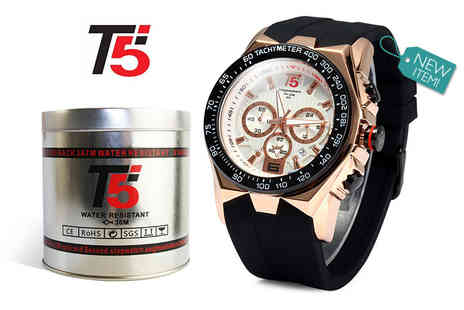 Timefused - Gents T5 luxury chronograph watch choose from three designs - Save 82%