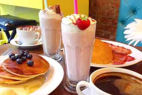 The Old Boston Coffee Shop - Pancake stack with a milkshake each for two - Save 0%