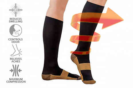 Toy Meets World - Pair of copper infused compression socks - Save 78%