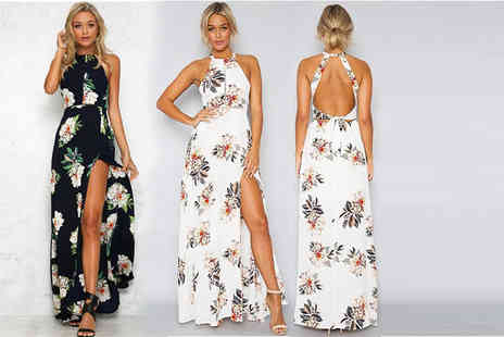 Boni Caro - Halter top maxi dress choose from two gorgeous floral prints - Save 70%