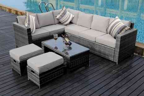 Dreams Living - Eight seater L shaped rattan dining set choose from three colours - Save 52%